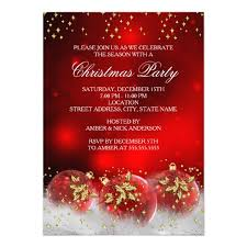 Red Gold Holly Baubles Christmas Holiday Party Card