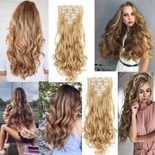 <b>7Pcs</b>/<b>Set</b> Fiber Clip Hair Female Synthetic Hair Extension Wavy Hair ...