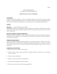 Groundskeeper Resume Sample Best Template Collection
