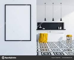 stylish bathroom interior white walls tiled floor white bathtub black stock photo