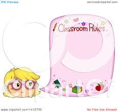 Clipart Of A Blond White Girl Citing Classroom Rules Royalty Free