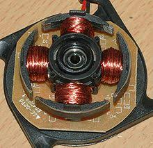 brushless dc electric motor the four poles on the stator of a two phase brushless motor this is part of a computer cooling fan the rotor has been removed