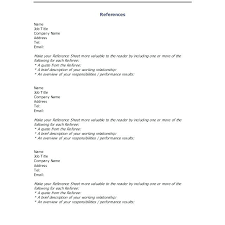Professional Reference Sheet Format List Template Efficient