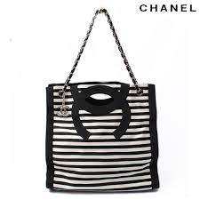 chanel bags black and white. chanel chanel chain shoulder bag / tote 2way grosgrain black white stripe [used bags and t