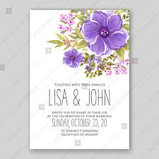 Wedding Invitation Template Lavender Violet Anemone Rustic Floral Wedding Invitation Vector Card Template Invitation Template