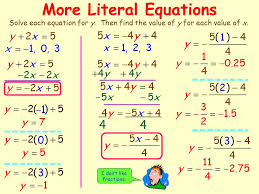 more literal equations
