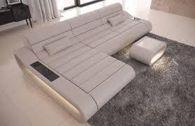 genuine leather sofa concept l shape with led lights beige