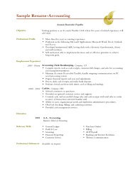 Sample Accounting Resume Objective 10 Sample Resumes Accountants Cover Letter