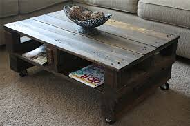 Image of: Rustic Coffee Table with Wheels
