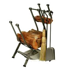 main image for american made hammered steel front loading log rack with set of