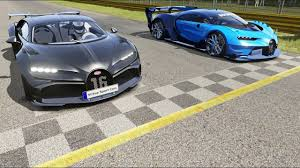 After many month of rumors spy shots and teasers bugatti finally introduced the chiron at the 2016 geneva motor show. Bugatti Chiron Pur Sport Vs Bugatti Vision Gt Round 2 At Monza Full Course Bugatti Chiron New Bugatti Chiron Bugatti