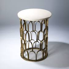 round fish scale side table in distressed gold leaf finish and marble top