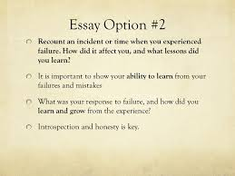 academic writing the common college essay ppt video online  9 essay option 2 recount an incident