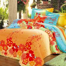 orange green and blue bright colorful geometric pentagon and fl print full queen size 100 cotton bedding sets