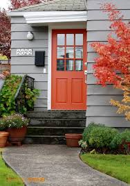 Paint Colors Brightly Colored Front Doors Are Nothing New But Bright Orange Doors Have Been Popping Up Everywhere These Days And Have To Say Im Big Fan Little House Design Trend Spotting Orange Front Doors Little House Design