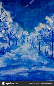 blue and white landscape painting night park trees nature abstract road in blue forest wood ilration artwork photo by weris7554
