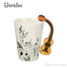 novelty acoustic guitar ceramic coffee mugs creative note milk coffee tea cups home office mugs novelty gifts snless coffee mugs 14 ounce coffee