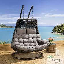 outdoor rattan 2 person garden hanging chair sunbed black grey 18