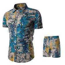 Shirts With Pants Mens Summer Shirts Pants Sets Fashion Floral Printed Suit Casual Short Sleeve Button Down Tops Shorts Outfit