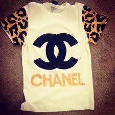 chanel shirt. wealth harte \u2014 chanel inspired t-shirt leopard sleeves shirt i