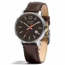 coach men s classic brown dial leather watch by coach leather coach bleecker stainless steel three hand strap watch