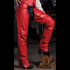 allstate leather inc women s red leather chaps