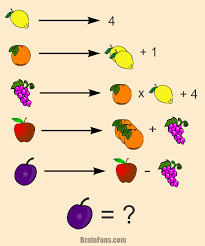 brain teaser picture logic puzzle play with fruit find the value for the
