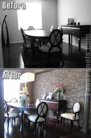 Small Picture Before and after photo shows how adding a faux stone accent wall