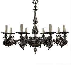 french silvered bronze gothic style chandelier 1900s