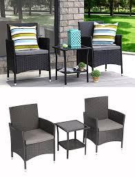 baner garden 3 pieces outdoor furniture complete patio cushion pe wicker rattan garden dining set full black q16