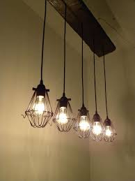 5 bulb reclaimed wood chandelier rustic ceiling light cage lamp guard