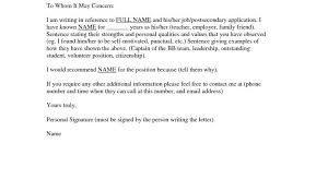 Letter Of Recommendation Template For Scholarship From