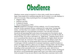 excellent ideas for creating obedience to authority essay obedience to authority is a real and powerful force that should be understood and respected in order to handle each situation in the best possible manner