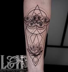 Black And Grey Geometric Lotus And Moth Tattoo Love N Hate