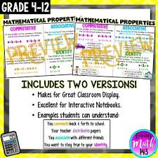 Properties Of Operations Chart Mathematical Properties Anchor Chart Poster Includes Real World Examples