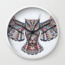 colorful ethnic owl wall clock by