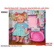 Búp bê Baby Doll K0062 - Kèm phụ kiện đánh răng - Dùng pin, biết nói, khóc,  cười