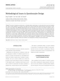 Considerations When Designing A Questionnaire Pdf Methodological Issues In Questionnaire Design