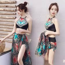 Korean Style <b>Women</b> Print <b>Halter</b> 3pcs Bikini Set Swimwear ...