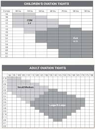Tights Size Chart Sizing Charts Curtain Call Costumes