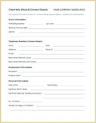 Employee Contact Form Template Elegant Nt Information Sheet Customer