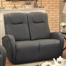 sunset trading easy living casual charcoal grey genuine leather reclining loveseat