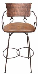 leather bar stools with arms. Hand Forged Swivel Bar Stool With Arms Leather Stools