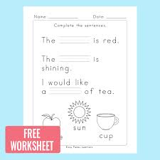Fill in The Blanks Sentence Completion Worksheets - Easy Peasy ...