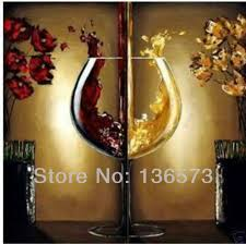 hand painted wine kitchen decor red yellow 2 piece canvas art sets oil painting modern abstract wall pictures home decoration
