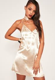 Missguided Nude Satin Choker Neck Dress in Blue Lyst
