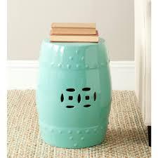 safavieh modern ming light aqua ceramic patio stool