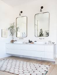 photo source double vanity brick wall marble counter vessel sinks