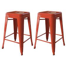 amerihome loft style  in stackable metal bar stool in orange