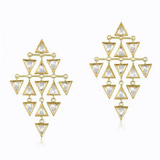 kundan vintage diamond triangle chandelier earring in 18k yellow gold and diamond